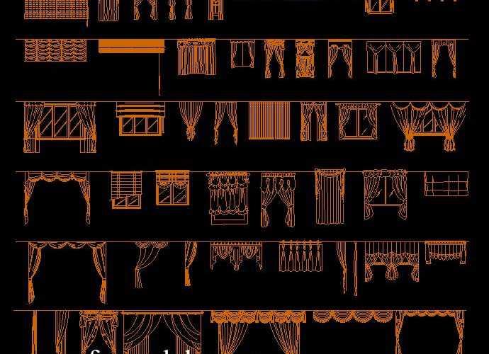 curtains set cad blocks