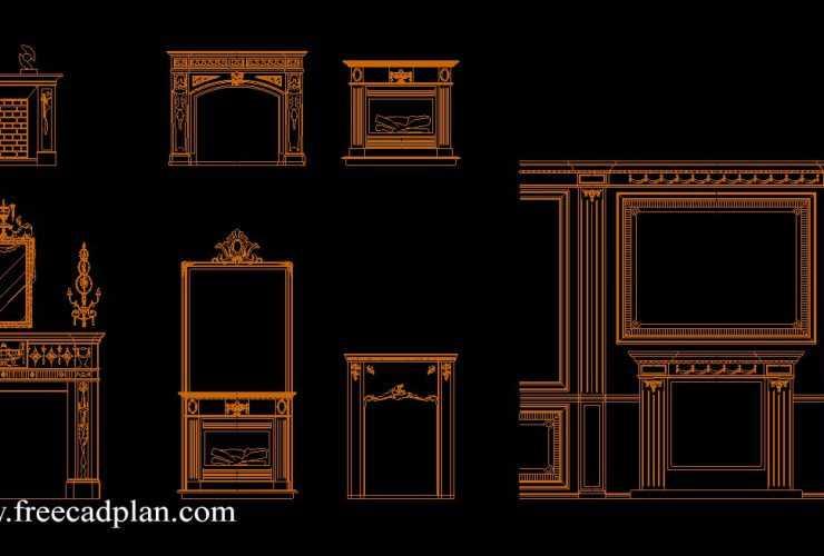 Fireplaces CAD blocks