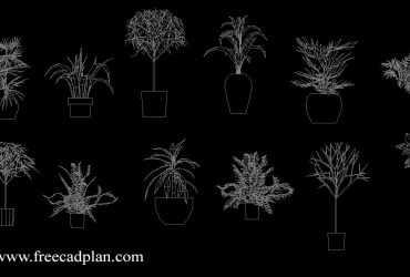 plants in pot 2d cad block