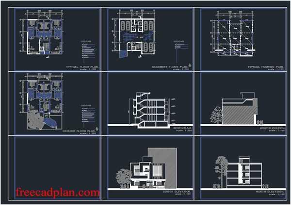 3 storey house dwg plans