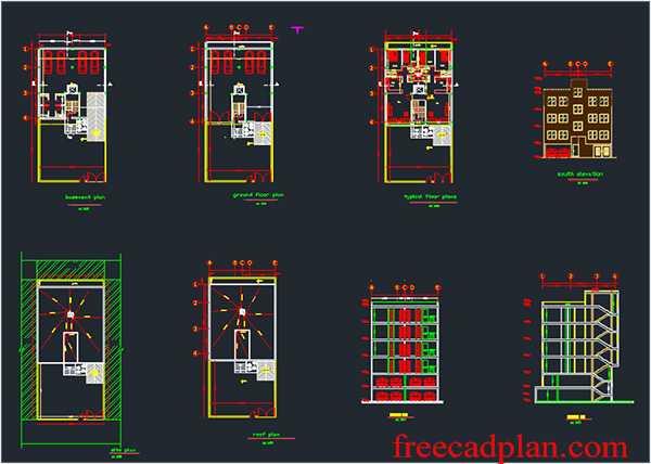 4 level house plan dwg