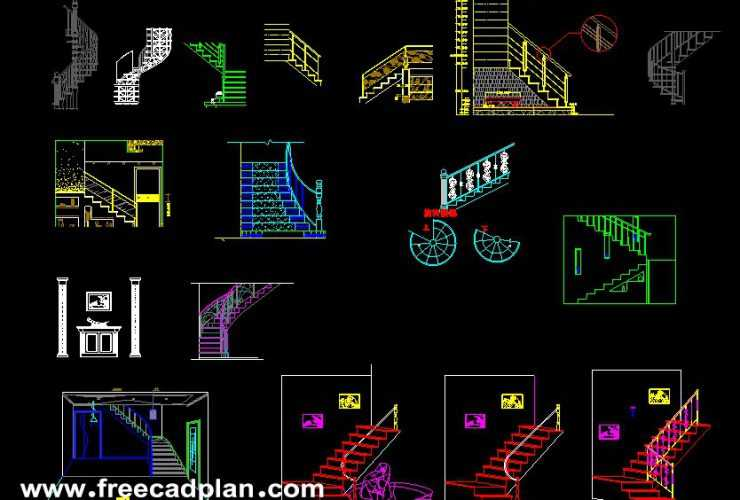 Staircase dwg cad blocks