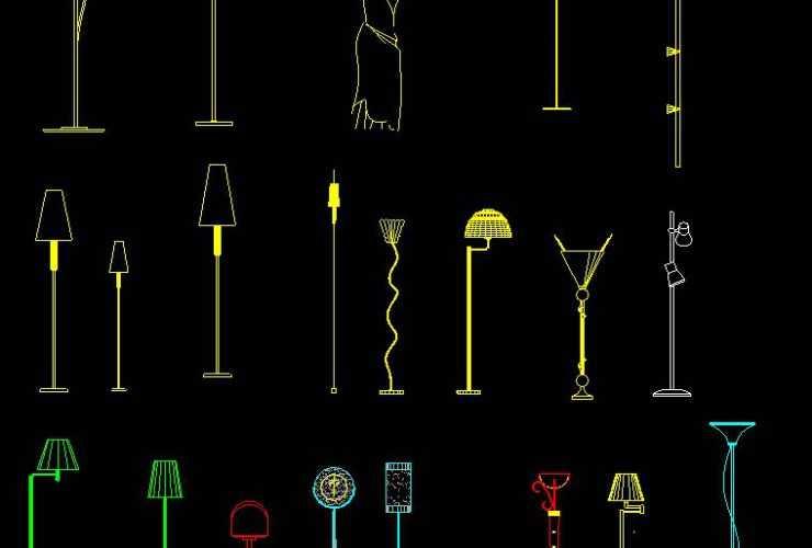 Floor lamps DWG CAD BLOCK