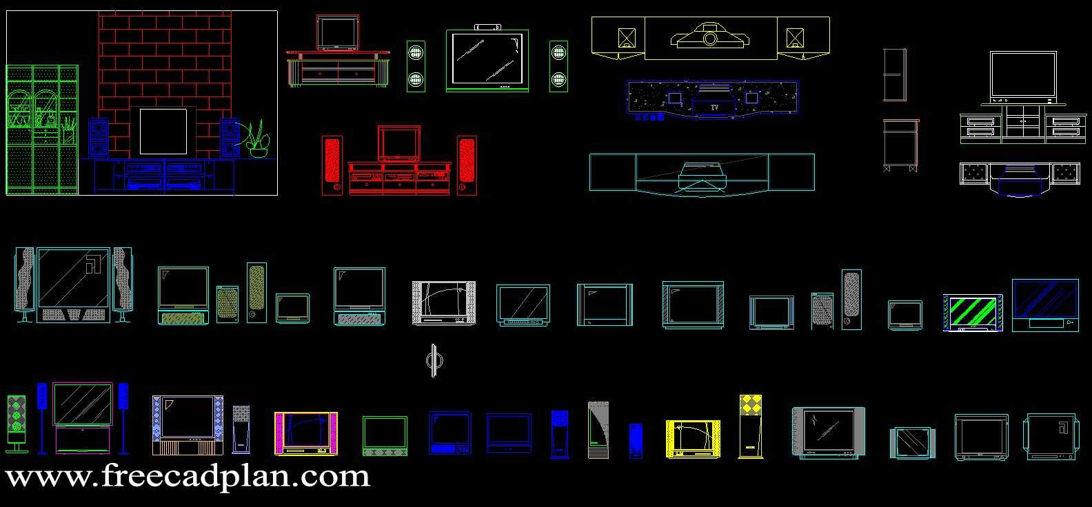 2d Tv Dwg Cad Block Download Free Cad Plan