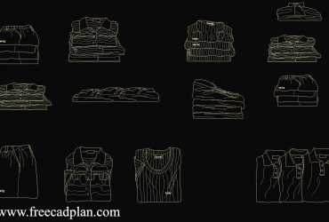folded shirt dwg cad block