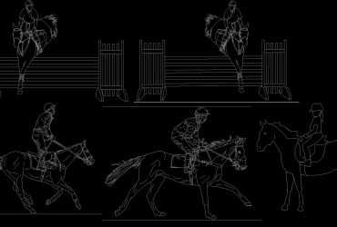 horse riding dwg cad block