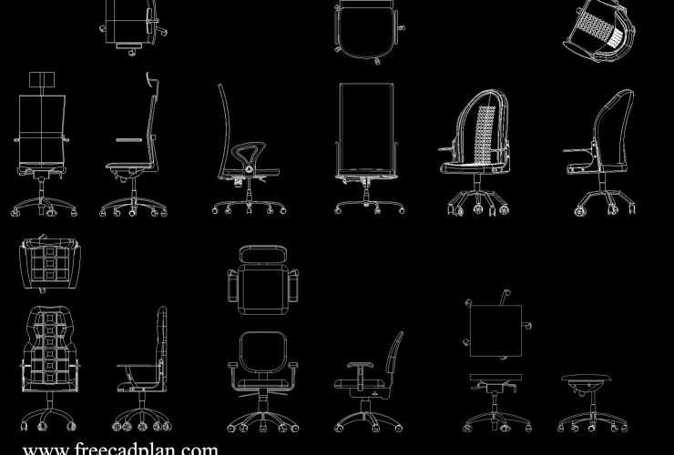 office chair cad block Archives - free cad plan