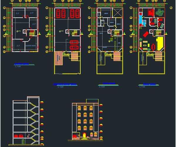 3 bedroom apartment dwg plan