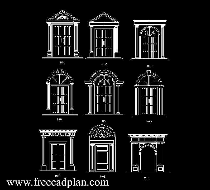 Ancient Doors Dwg Cad Block In Autocad Free get Free Cad Plan