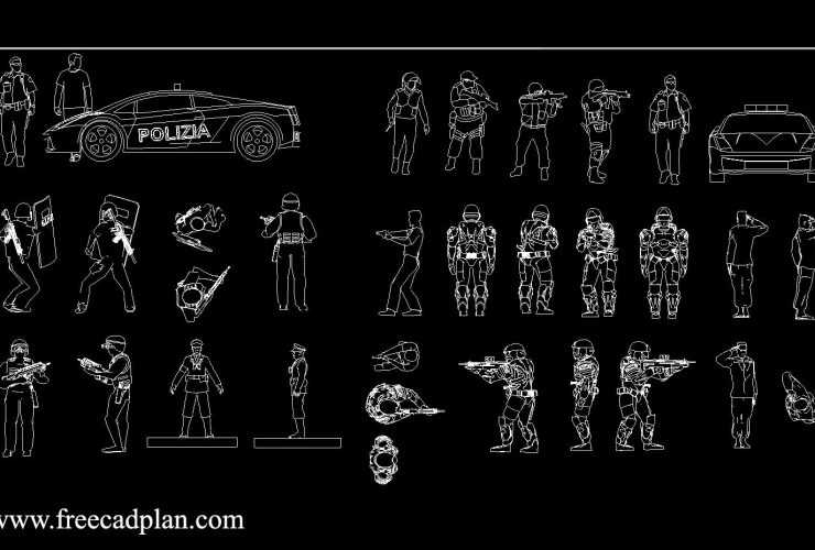 Soldiers Police dwg cad block