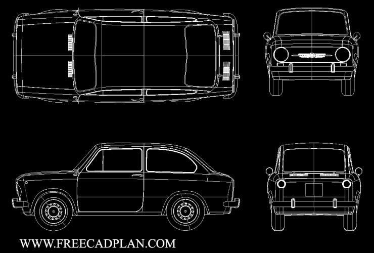 Fiat 850 Car DWG CAD Block