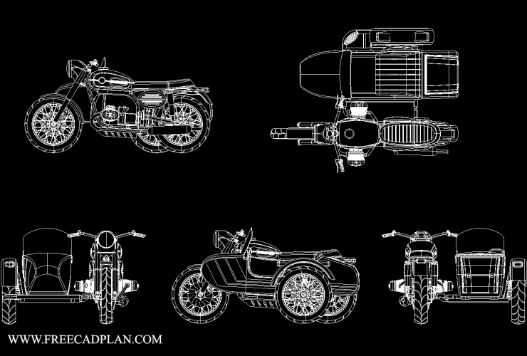 Ural 650 W Sidecar dwg cad block