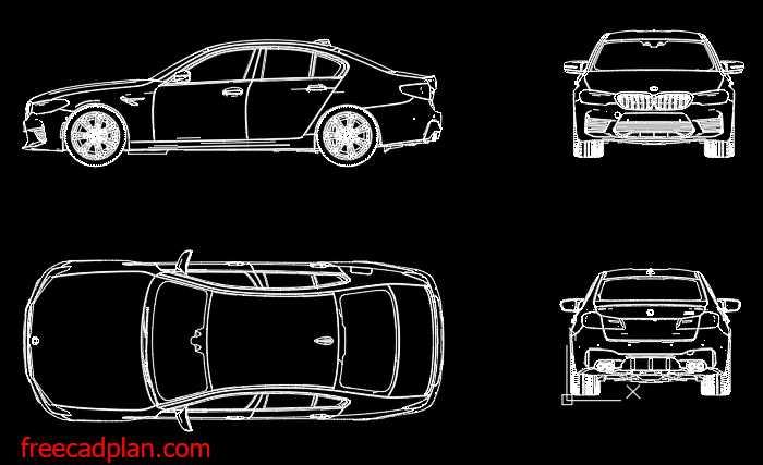 BMW M5 F90 dwg cad block