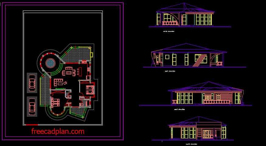 2 bedroom villa dwg plan