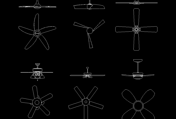 Ceiling Fans DWG CAD Block