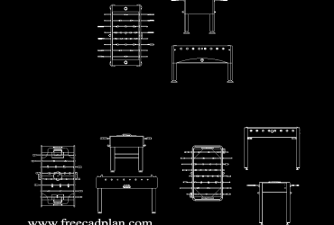 Table football DWG CAD block