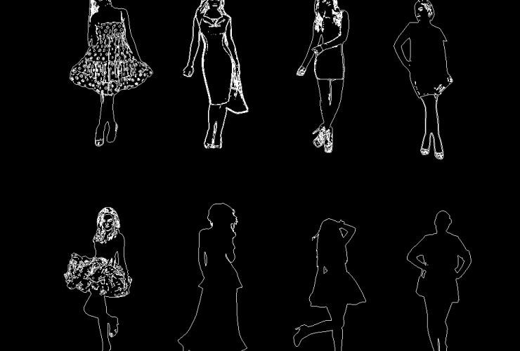 Women in Dresses DWG CAD Block