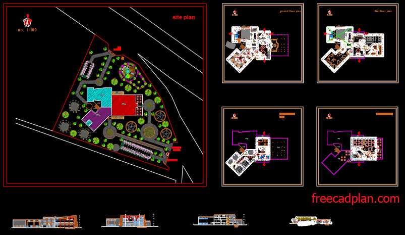 Cultural educational center dwg plan