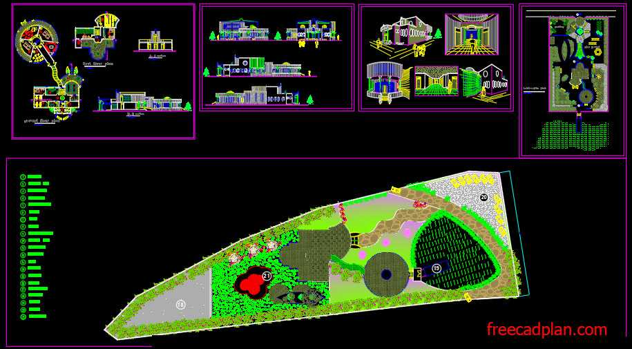 Preschool dwg plan , Landscaping and Perspectives