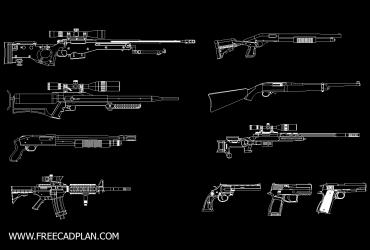 GUN DWG CAD Block in Autocad