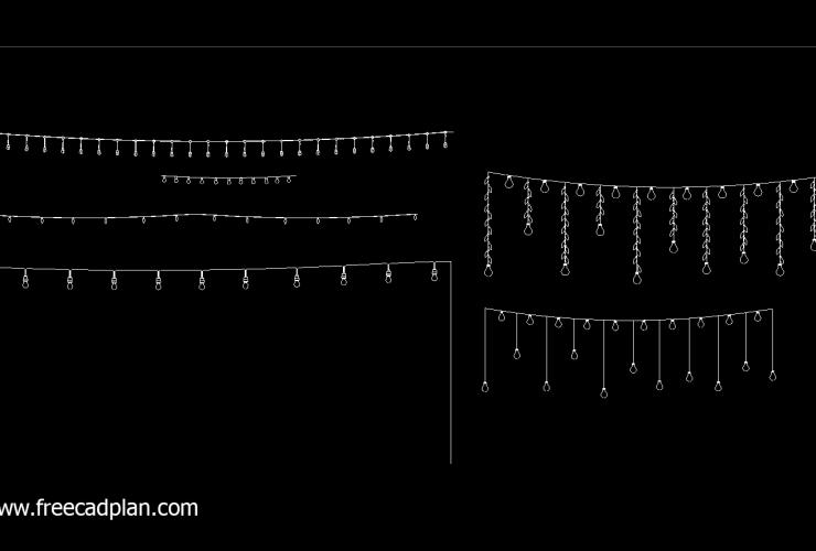 String Lights DWG CAD Block