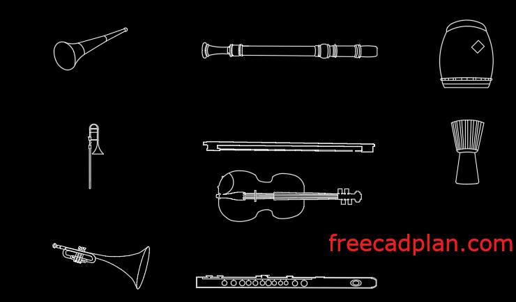 Musical instruments dwg cad blocks