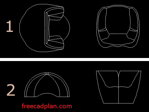 Apple Armchair dwg cad block