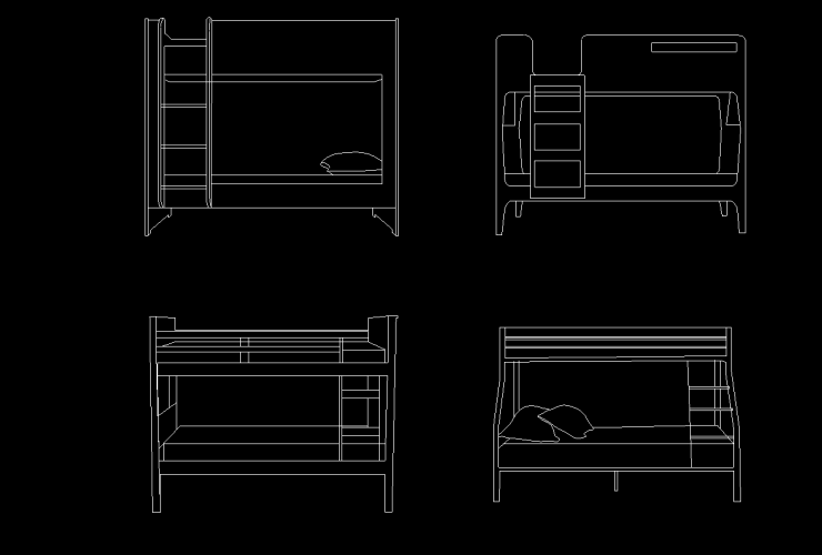 bunk bed dwg cad block