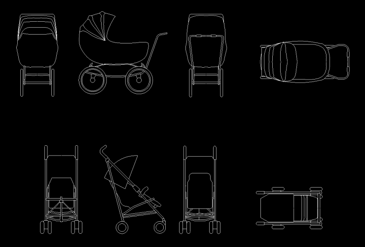Baby Carriage Cad Block