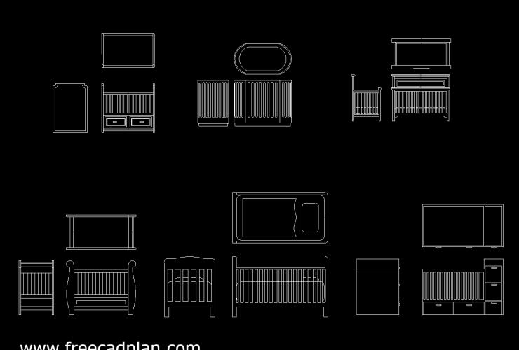 Baby Cribs DWG CAD Block