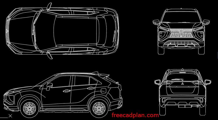 Mitsubishi Eclipse Cross Hybrid 2021 dwg cad block
