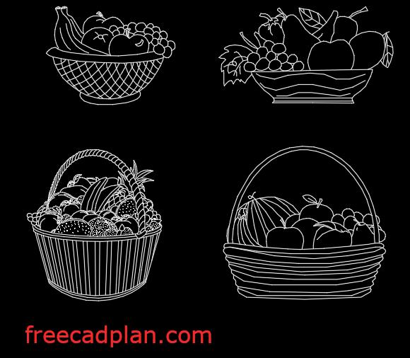 Fruit basket cad block in autocad