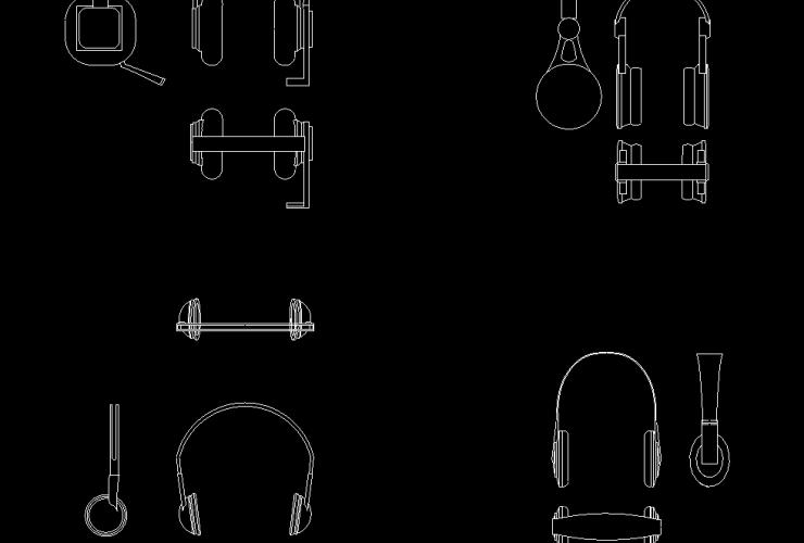 headphone & headsets dwg cad